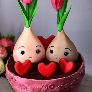 cake with tulip bulbs For Saint  Valentine's Day