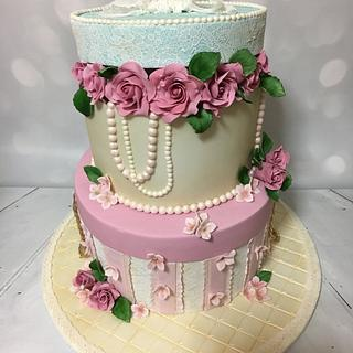 Hat boxes  - Cake by Rock and Roses cake co.
