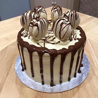 Chocolate Macaron Drip Cake