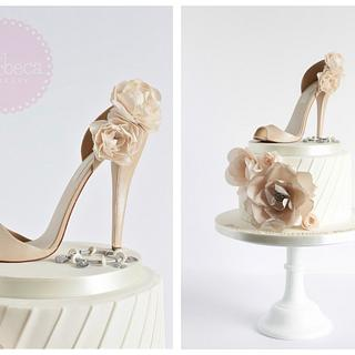 Ivory & Beige Pleated Shoe Cake - Cake by The Marbeca Bakery