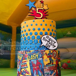 Superhero comic book cake