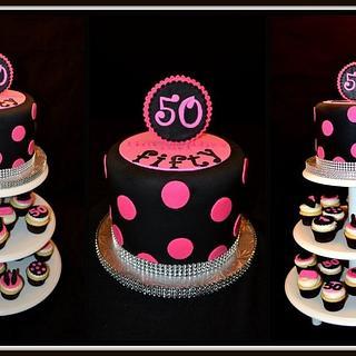50th Birthday cupcake tower! - Cake by YummyTreatsbyYane
