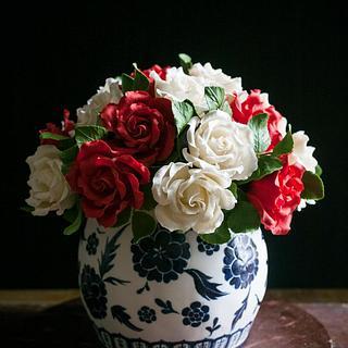 Sugar roses in handpainted vase