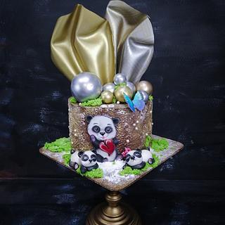 Chocolate cake with pandas