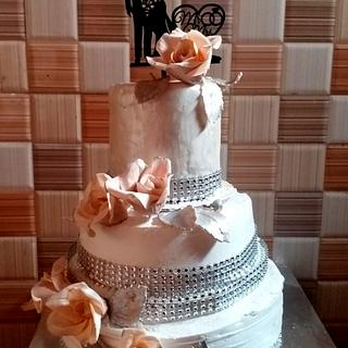 Peach and pearl wedding - Cake by SDUT