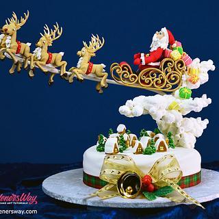 Santa's in Town Christmas Cake