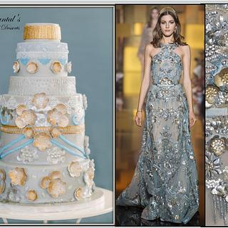 Elie Saab Inspired Couture Wedding Cake
