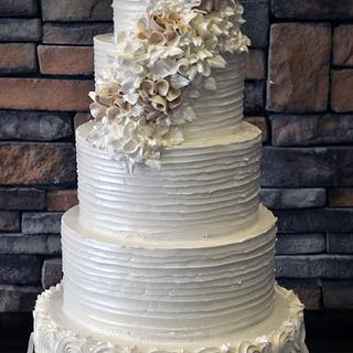5 Tiered Textured Buttercream Iced Wedding Cake