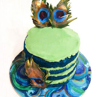 Blue Naked Cake with Feathers