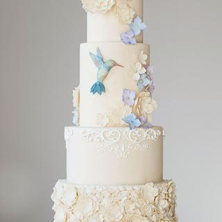 Hummingbird & Flowers Wedding Cake