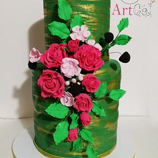 Torta con fiori rose