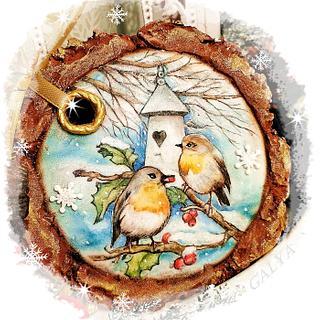 Christmas cookies/STUMP with birds - Cake by Galya's Art