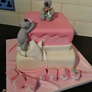 Cute teddied christening cake - Cake by GazsCakery