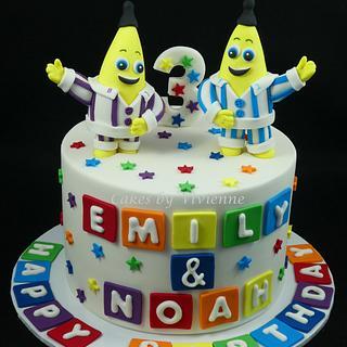 Bananas in Pyjamas Twins Birthday cake - Cake by Cakes by Vivienne
