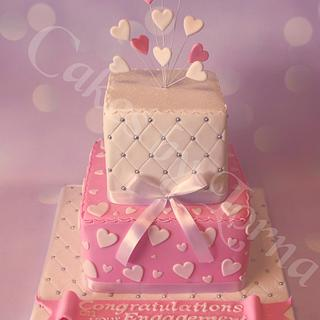 Two tier Square Engagement Cake