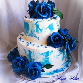 Wedding cake in blue - Cake by Maja Motti