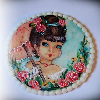 Painted cookie -vintage