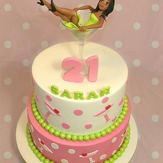 Martini Girl in Glass 21st Cake - Cake by Custom Cake Designs