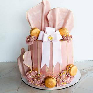 Cake with ribbon and chocolate waves - Cake by TortIva