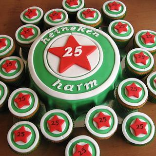 Heineken bottlecap cake with matching cupcakes