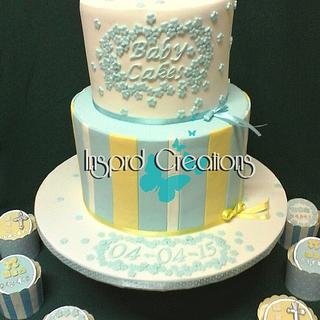 Pastel blue and white christening cake