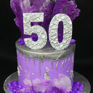 Purple and Silver 50th Birthday Cake - Cake by Cakes by Vivienne