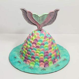 Mermaid Theme Eggless Pineapple Fresh Cream Cake