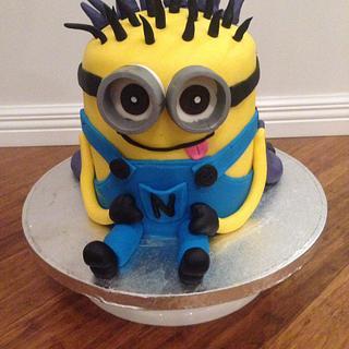Half and half minion cake
