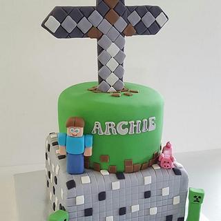 Minecraft Sward Cake - Cake by Creative Cakes - Deborah Feltham