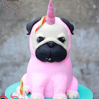 Unicorn pug dog cake :)