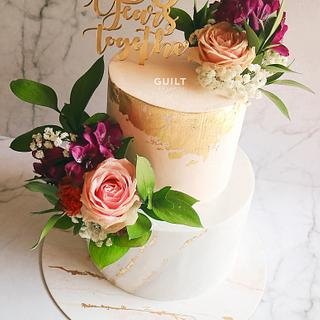 Fresh Flower Gold and Marble cake