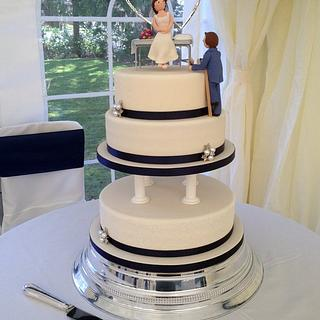 Elegant Wedding cake for a painter & decorator and his beautician bride