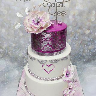 purple heart stenciled engagement cake
