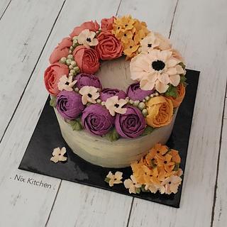 Buttercream floral wreath