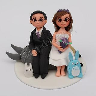 Anime wedding topper (Totoro, bride and groom)