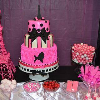 Paris Poodle Themed Birthday CAke