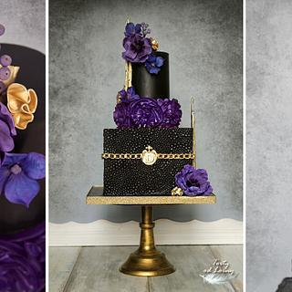 Black & gold & purple elegant - Cake by Lorna