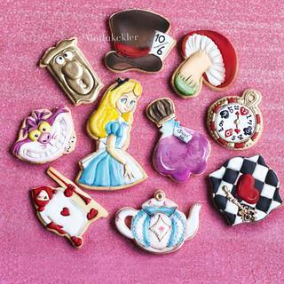 Alice in wonderland Royal icing cookies