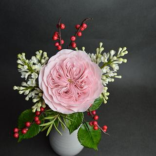 Austins rose, lilac, berries