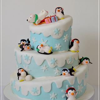 Penguins cake winter