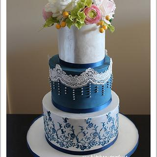 Navy Blue and silver theme wedding cake