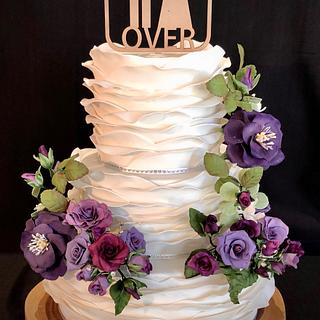 Wave Ruffle Wedding Cake - Cake by Julie Anne White