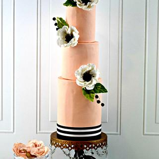 Peach and Black Anemone Wedding Cake - Cake by PrimaCristina