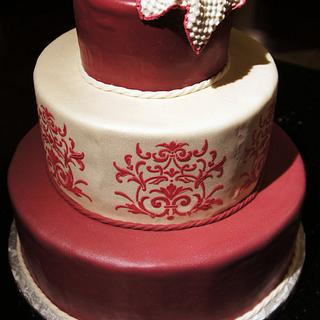 Victorian style baby shower cake