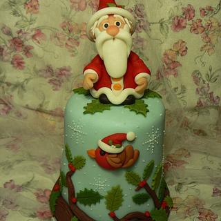 Robin and Santa mini Christmas Cake