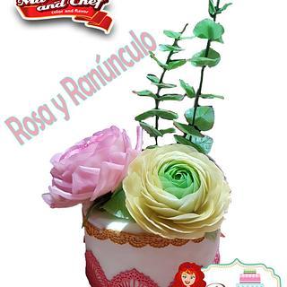 Rose Austin and Ranúnculus