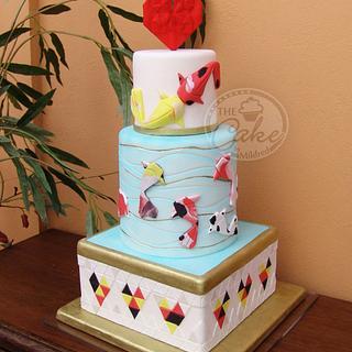 Origami koi fish Wedding cake