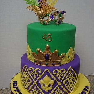 45th birthday Mardi Gras Cake - Cake by Patricia M