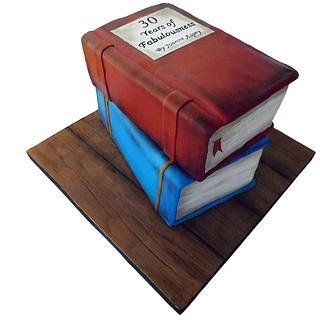 Stacked books cake