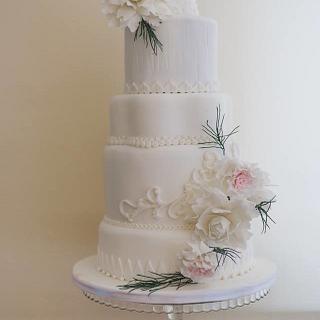 Pale blush wedding cake